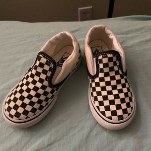 Vans toddler slip on checker black and white 8.5